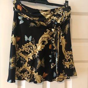 100% Silk mini skirt with beautiful print